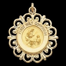 14K Gold First Holy Communion Medal - United states