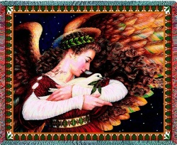 Image For Angel and Dove Religious Tapestry Throw