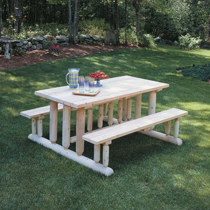 Furniture Outdoor Furniture Picnic Table Log Picnic Table