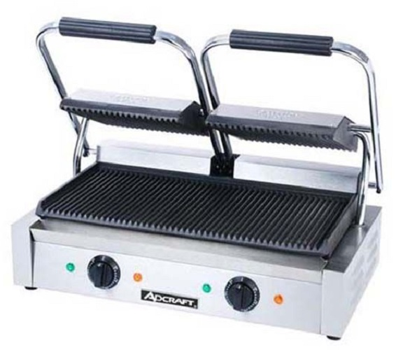 Adcraft Double Sandwich Grill w/Grooved Plates