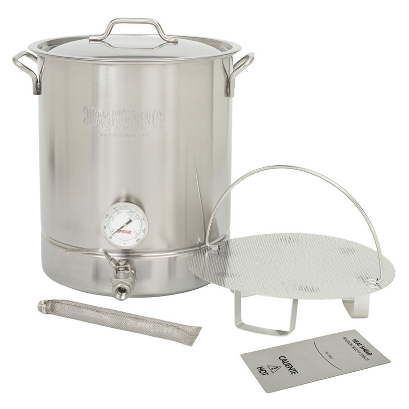 Bayou Classic 8-Gal. Brew Kettle Set, stainless, 32-Qt.