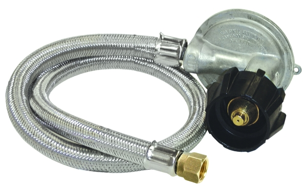 """Bayou Classic 1 PSI Reg, 36"""" stainless braided hose, For Gas Grills"""