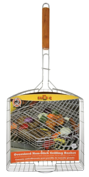 "Mr. BBQ 27"" Oversized Silver Non-Stick Grill Basket"