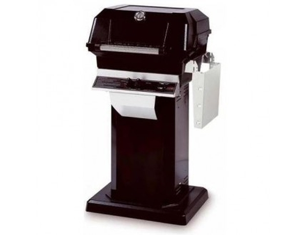 MHP Gas Grill on Black Console w/Permanent Mounting Base, S.S. Grid, USA Made, 30,000 BTU