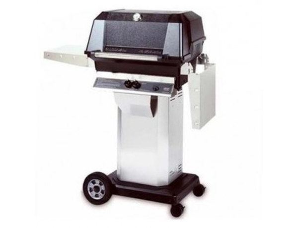 MHP Propane Gas Grill on S.S. Console Cart with Wheels, S.S. Grid, USA Made, 40,000 BTU