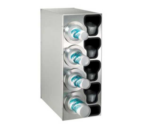 Dispense Rite Countertop Cup Dispensing Cabinet with (4) BFL-2F and built-in lid and straw organizer - Stainless Steel, Model# BFL-C-4LSS DIS-BFL-C-4LSS
