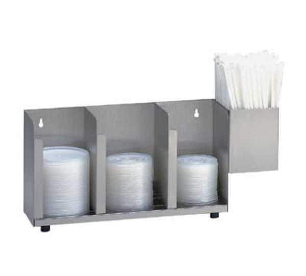 Dispense Rite Three section stainless steel cup and lid organizer with SH-1 straw attachment DIS-CTLD-15A