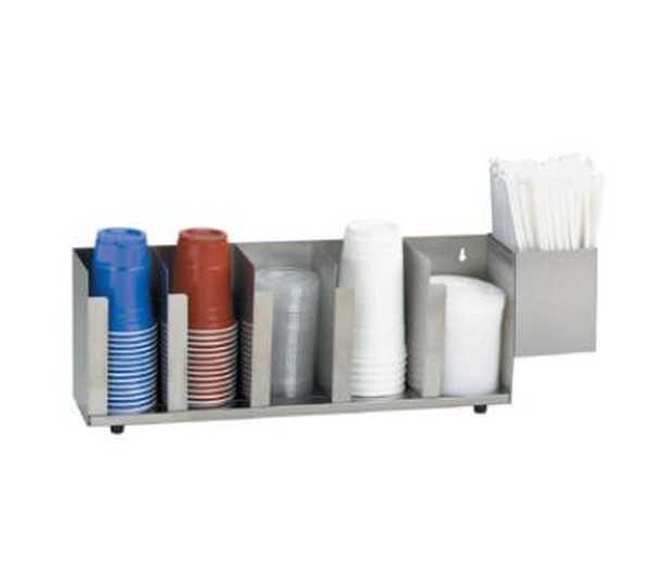Dispense Rite Five section stainless steel cup and lid organizer with SH-1 straw attachment