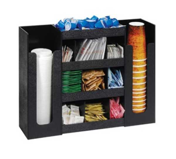 Dispense Rite Six section cup, lid and condiment organizer DIS-DLCO-5BT