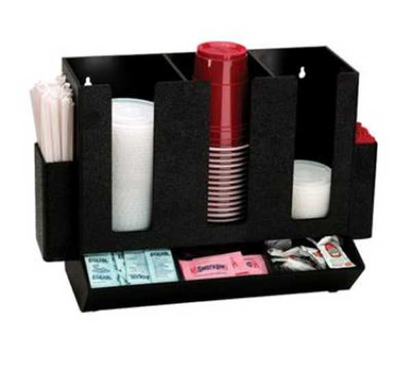 Dispense Rite Countertop cup, lid, straw and condiment organizer DIS-HLCO-3BT