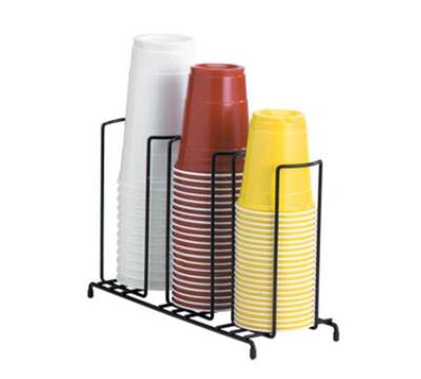 Dispense Rite Three section wire rack cup and lid organizer DIS-WR-3