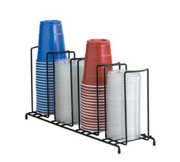 Dispense Rite Four section wire rack cup and lid organizer DIS-WR-4