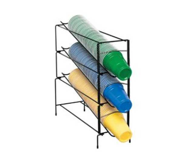 Dispense Rite Three section vertical wire rack cup dispenser DIS-WR-CT-3