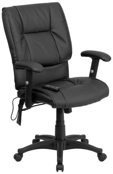 Flash Furniture Mid-Back Massaging Black Leather ChairBT-2770P-GG