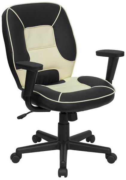 Flash Furniture Mid-Back White Leather Executive ChairBT-2922-BK-GG