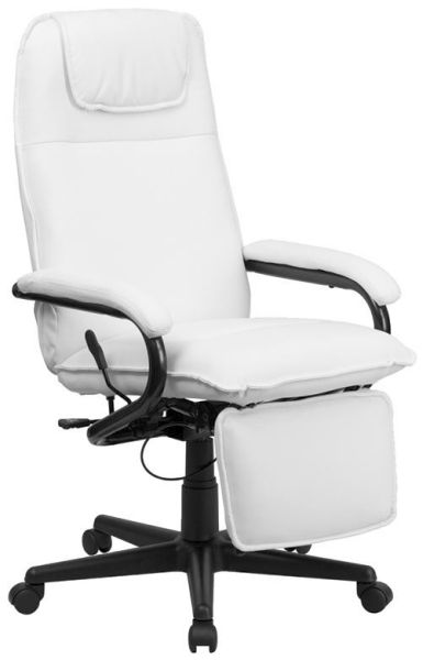 Flash Furniture HiBack White Upholstered Leather ChairBT-70172-WH-GG F-BT-70172-WH-GG