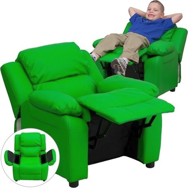 Flash Furniture Padded Green Vinyl Kids ReclinerBT-7985-KID-GRN-GG F-BT-7985-KID-GRN-GG