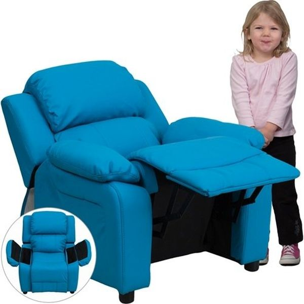 Flash Furniture Paded Turquoise Vinyl Kid ReclinerBT-7985-KID-TURQ-GG F-BT-7985-KID-TURQ-GG