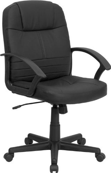 Flash Furniture Mid-Back Black Leather Office ChairBT-8075-BK-GG