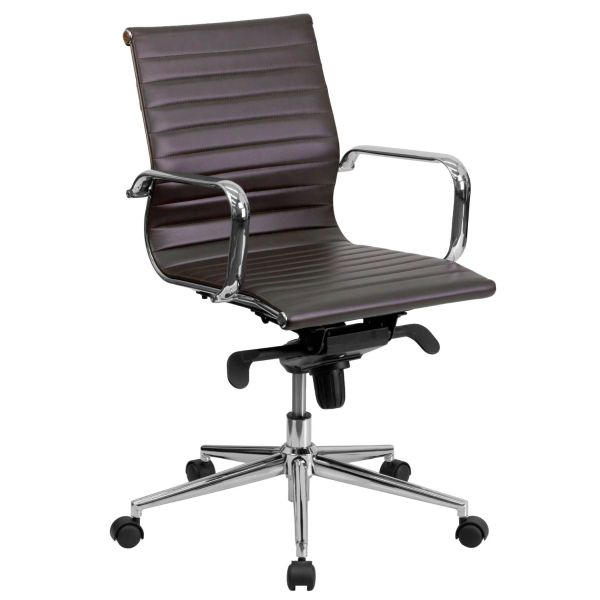 Flash Furniture Mid-Back Tan Leather Conference ChairBT-9826M-BRN-GG F-BT-9826M-BRN-GG