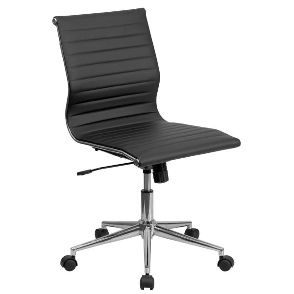 Flash Furniture MidBack Armless Black Ribbed ChairBT-9836M-2-BK-GG F-BT-9836M-2-BK-GG