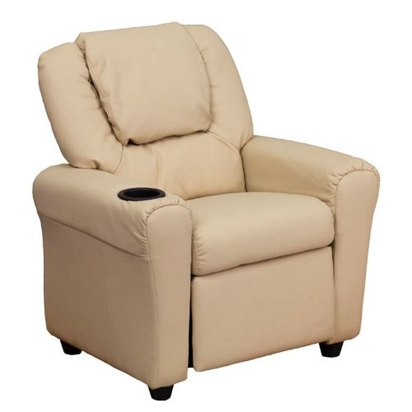 Flash Furniture Beige Vinyl Kids Recliner & HeadrestDG-ULT-KID-BGE-GG F-DG-ULT-KID-BGE-GG