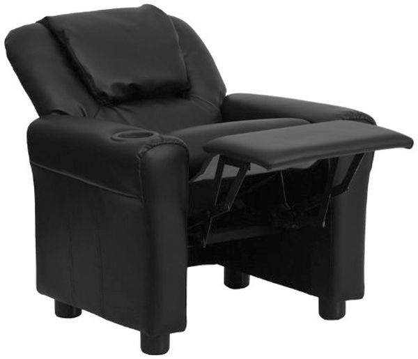 Flash Furniture Black Leather Kid Recliner & HeadrestDG-ULT-KID-BK-GG F-DG-ULT-KID-BK-GG