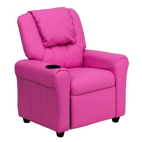 Flash Furniture Pink Vinyl Kids Recliner & HedrstDG-ULT-KID-HOT-PINK-GG F-DG-ULT-KID-HOT-PINK-GG