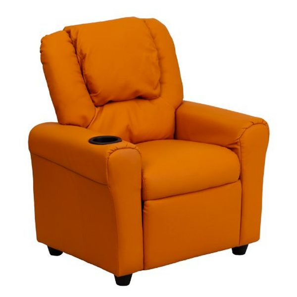 Flash Furniture Orange Vinyl Kids Recliner & HedrstDG-ULT-KID-ORANGE-GG F-DG-ULT-KID-ORANGE-GG