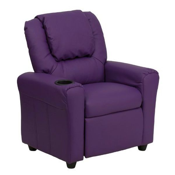 Flash Furniture Purple Vinyl Kids Recliner/HeadrestDG-ULT-KID-PUR-GG F-DG-ULT-KID-PUR-GG