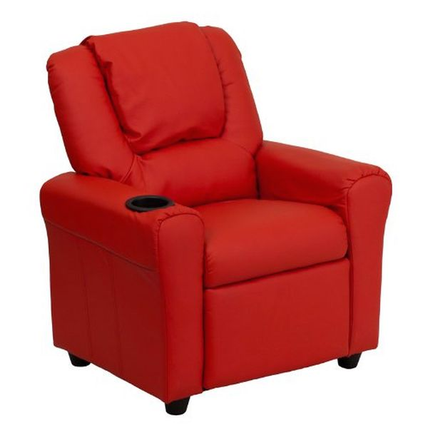 Flash Furniture Red Vinyl Kids Recliner and HeadrestDG-ULT-KID-RED-GG F-DG-ULT-KID-RED-GG