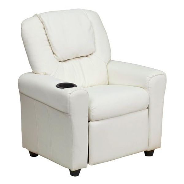 Flash Furniture White Vinyl Kids Recliner/HeadrestDG-ULT-KID-WHITE-GG F-DG-ULT-KID-WHITE-GG