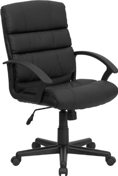Flash Furniture Mid-Back Black Leather Office ChairGO-1004-BK-LEA-GG