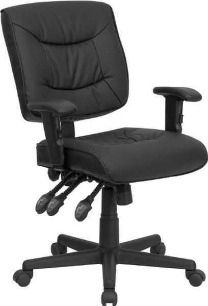 Flash Furniture Mid-Back Black Leather Office ChairGO-1574-BK-A-GG