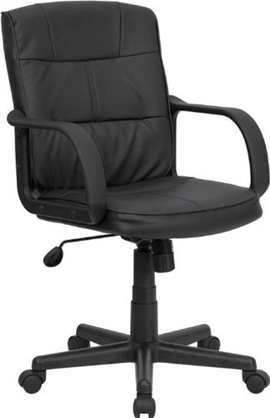 Flash Furniture Mid-Back Black Leather Office ChairGO-228S-BK-LEA-GG
