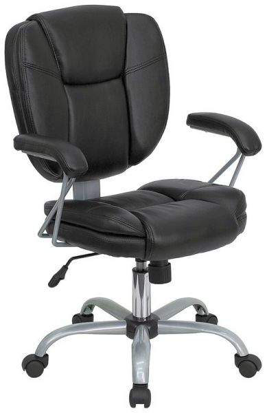 Flash Furniture Mid-Back Black Leather Computer ChairGO-930-BK-GG
