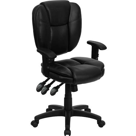 Flash Furniture Mid-Back Black Leather ChairGO-930F-BK-LEA-ARMS-GG