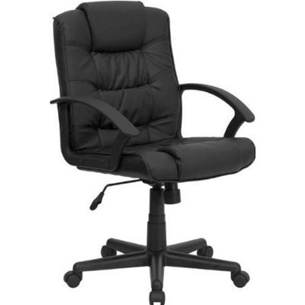 Flash Furniture Mid-Back Black Leather Office ChairGO-937M-BK-LEA-GG