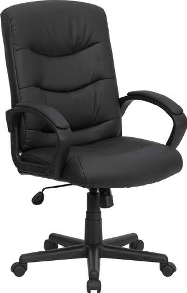 Flash Furniture Mid-Back Black Leather Office ChairGO-977-1-BK-LEA-GG