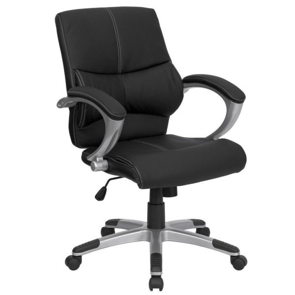 Flash Furniture Mid-Back Black Leather Office ChairH-9637L-2-MID-GG