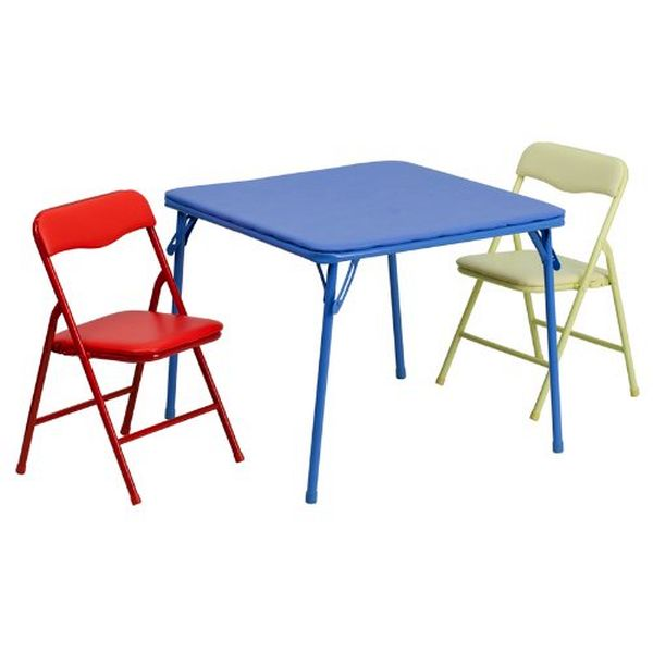 Flash Furniture Kids 3 Piece Folding Table & Chair SetJB-10-CARD-GG