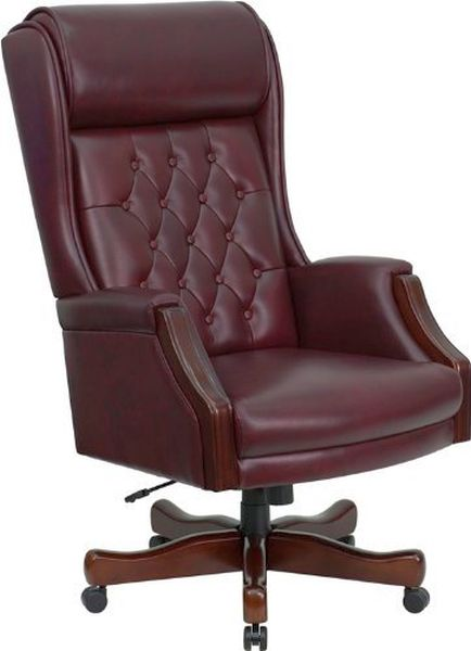 Flash Furniture HiBack White Leather Office Chair w/ArmsKC-C696TG-GG