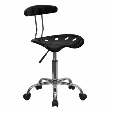 Flash Furniture Black and Chrome Computer Task ChairLF-214-BLK-GG F-LF-214-BLK-GG
