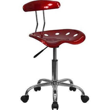 Flash Furniture Wine Red and Chrome Computer ChairLF-214-WINERED-GG F-LF-214-WINERED-GG