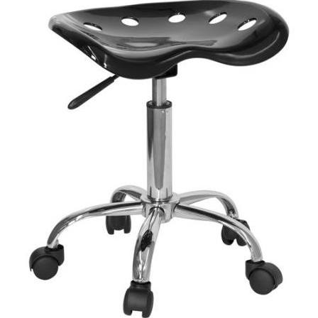 Flash Furniture Blue Tractor Seat and Chrome StoolLF-214A-BLACK-GG F-LF-214A-BLACK-GG