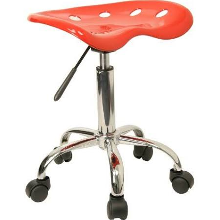 Flash Furniture Silver Tractor Seat and Chrome StoolLF-214A-RED-GG F-LF-214A-RED-GG