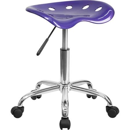 Flash Furniture White Tractor Seat and Chrome StoolLF-214A-VIOLET-GG F-LF-214A-VIOLET-GG