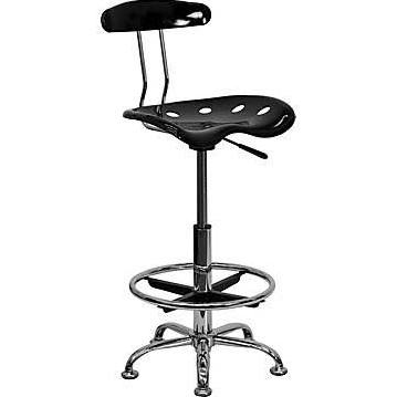 Flash Furniture Blck & Chrme Drafting Stool Tractor SeatLF-215-BLK-GG F-LF-215-BLK-GG