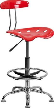 Flash Furniture Cherry Tomato and Chrome StoolLF-215-CHERRYTOMATO-GG F-LF-215-CHERRYTOMATO-GG