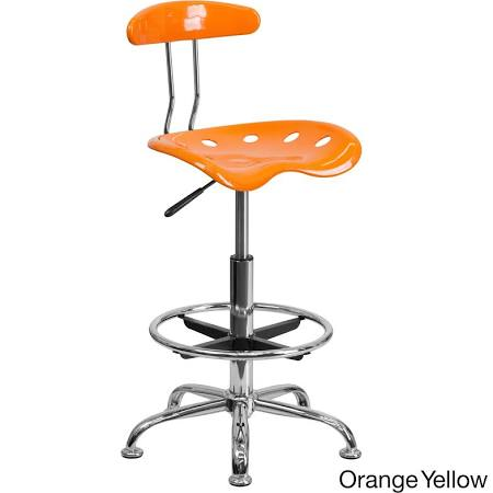 Flash Furniture Orange & Chrome Drafting StoolLF-215-ORANGEYELLOW-GG F-LF-215-ORANGEYELLOW-GG